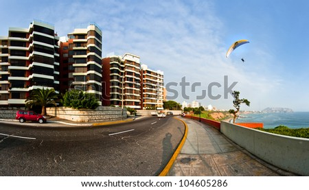 Lima � May 12: Miraflores Town landscapes in Lima Peru, is the favorite place for the tourist who visit Lima. Sited in Lima, Peru, on May 12, 2012. - stock photo