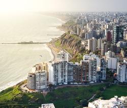 LIMA, PERU: Aerial view of Miraflores town in Lima, peru.