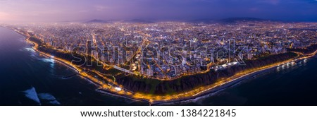 LIMA, PERU: Panoramic aerial view of Lima at evening.