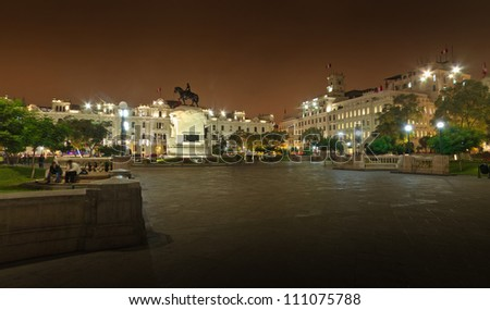 Lima, Peru, panoramic view of San Martin Square - stock photo