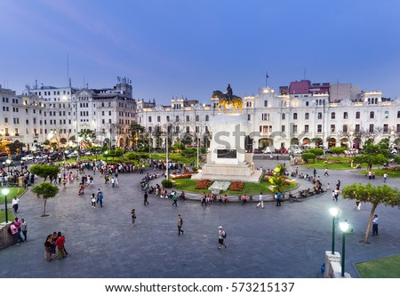 LIMA, PERU: View of San Martin square.
