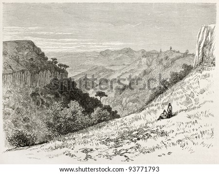 Limadou old view, Abyssinia. Created by Ciceri after Lejean, published on Le Tour du Monde, Paris, 1867