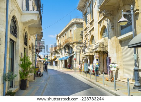 LIMASSOL, CYPRUS - AUGUST 4, 2014: There are a lot of houses of British colonial architecture in the old town, on August 4 in Limassol.