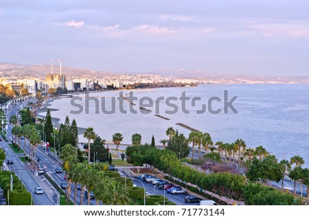 Limassol, Cyprus. Coastline and beach aerial view