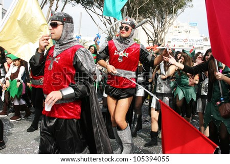 LIMASSOL, CYPRUS - MARCH 6: Unidentified participants  in knights costumes in Cyprus carnival parade on March 6, 2011 in Limassol, Cyprus, established in 16th century, influenced by Venetians.