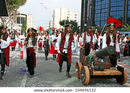 LIMASSOL, CYPRUS - MARCH 6: Unidentified participants  in pirates costumes in Cyprus carnival parade on March 6, 2011 in Limassol, Cyprus, established in 16th century, influenced by Venetians.