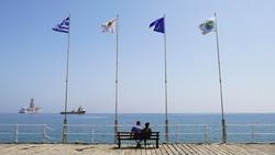 Limassol pier, Coast of Limassol City in Cyprus, Sunset Time