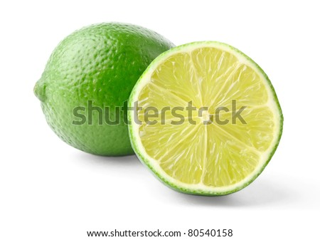 Lime and half isolated on white background