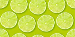 Lime citrus slices seamless backdrop texture. Flat lay backdrop