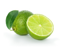 Lime closeup isolated on a white background.