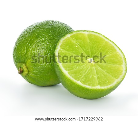 Lime closeup isolated on white background.