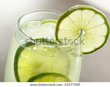 lime drink with ice closeup