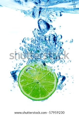 Lime dropped in a water