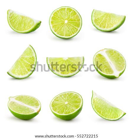 Lime. Fresh fruit isolated on white background. Slice, piece, half, quarter; part, segment, section. Collection.
