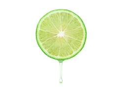 Lime fruit with extract oil or water dropping on white background clipping path. Sour food fruit. Herb for use a cosmetic product in beauty treatment.