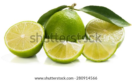 Lime fruit with slices and leaves isolated on white background #280914566