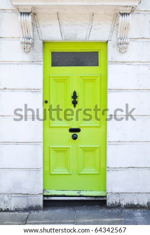 Lime Green Front Door of a London Town House
