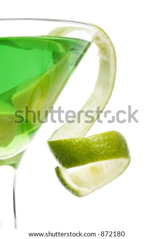 Lime green martini with lime twist garnish