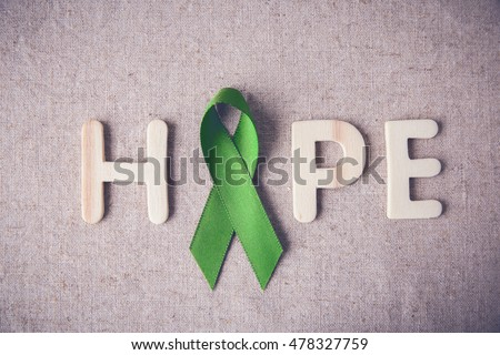 Lime Green Ribbon with HOPE wooden word,Lyme disease, Mental health awareness