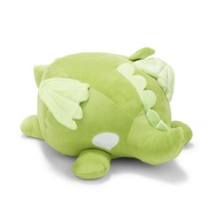 Lime Green Round Dragon Stuffed Animal  Isolated on White. Toddler Soft Squishy Plushies. Baby Plush Friend Toy Sitting on the Floor. 13 Inch Polyester Fabric Stuffed Toys or Stuffies. Cuddle Buddy