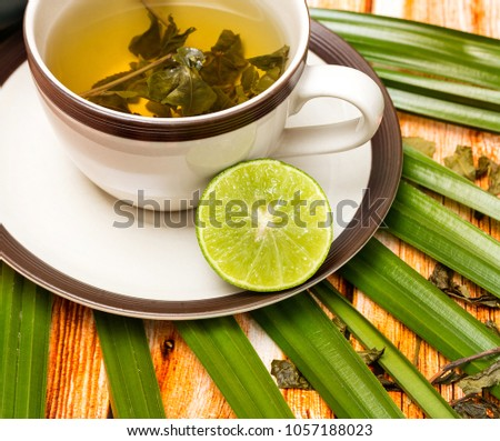 Lime Green Tea Representing Refreshing Refresh And Citruses