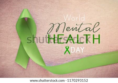 Lime GreenRibbon, world Mental health day #1170293152