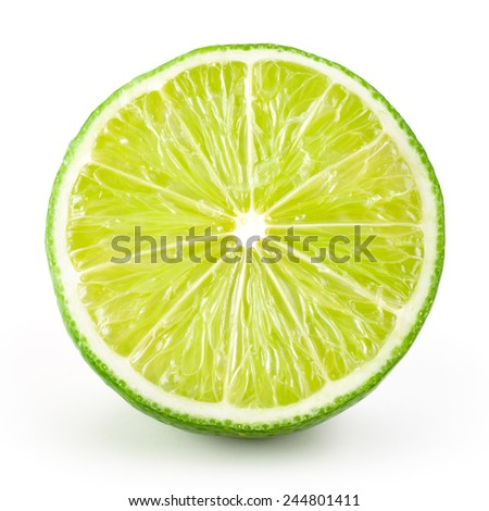 Lime half. Slice isolated on white background #244801411