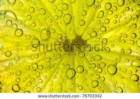 lime in water bubbles on white background - stock photo