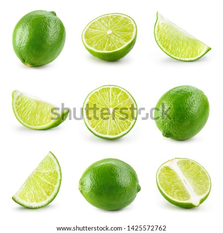 Lime isolated. Lime half, slice, piece isolate on white. Lime set.