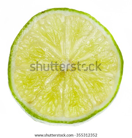 Lime isolated on a white background, macro image. #355312352