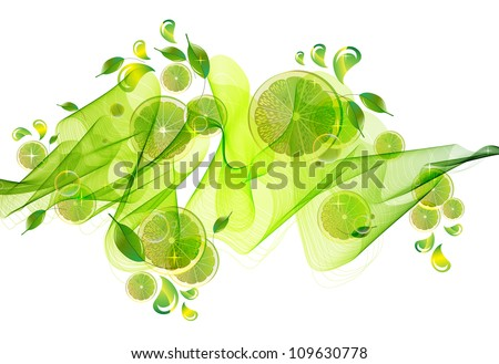 lime juice splash with abstract wave, illustration