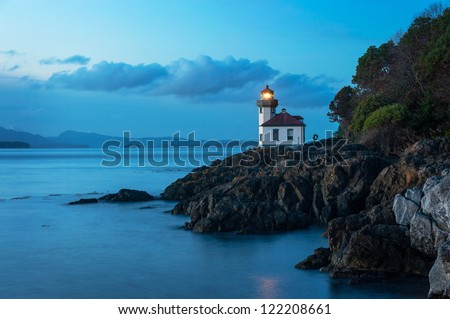 Lime Kiln Lighthouse located on San Juan Island in the Puget Sound area of western Washington State, USA.