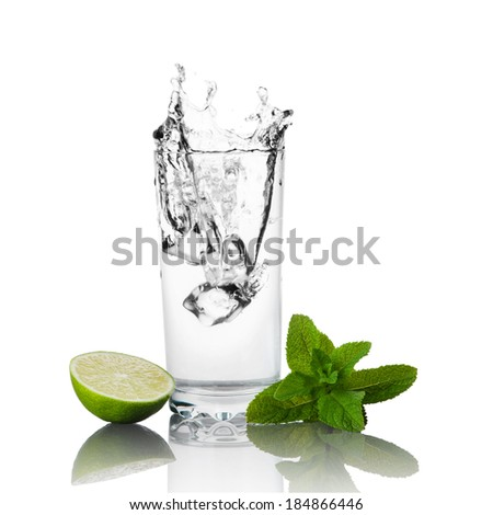 Lime, mint and glass of water