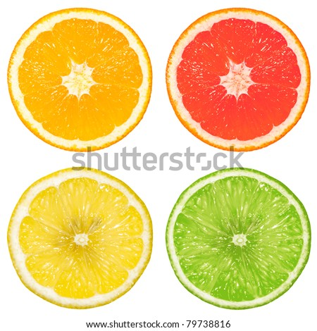 lime, orange, grapefruit and lemon isolated on a white background