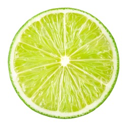 Lime slice. Fruit isolated on white background. With clipping path.