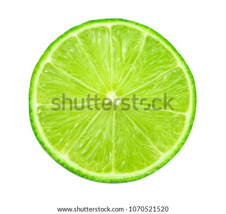 lime sliced isolated on a white background.