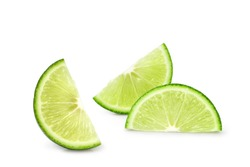 lime sliced pieces isolated on white background