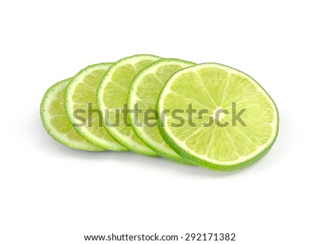 Lime slices isolated on white background #292171382