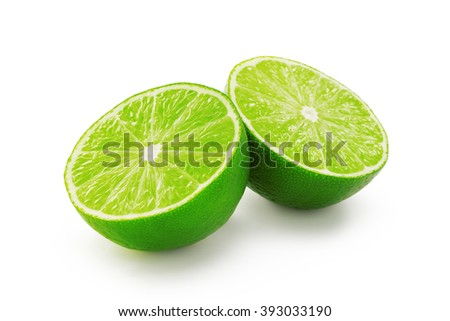 Lime slices isolated on white background #393033190