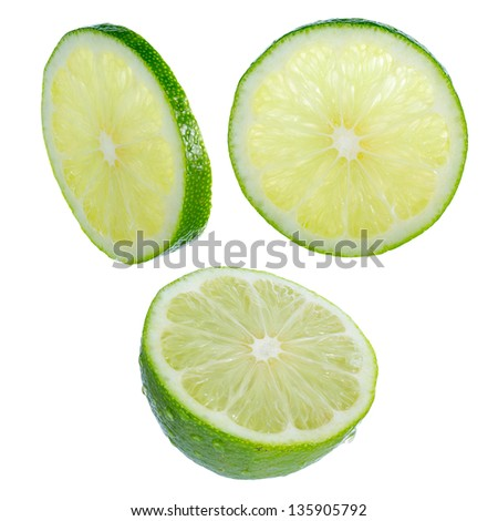 Lime slices isolated on white background. Designer's set. Different angles of view. Large DOF increased by focus stack. Everything in focus. Natural color of pulp preserved.