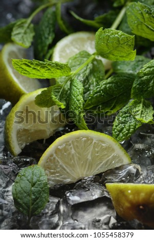 Lime slices with ice and mint on dark background. Selective focus . Selective focus. #1055458379