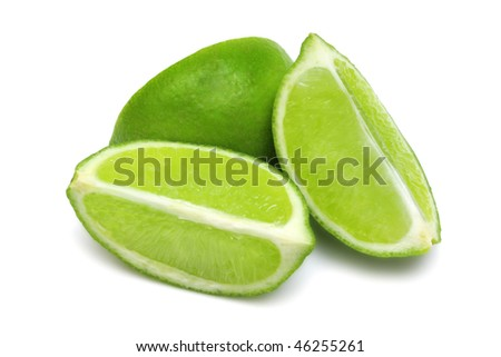 Lime wedges grouped isolated on white with clipping path