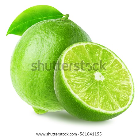 Lime with a half fruit with leaves isolated on white background, with clipping path