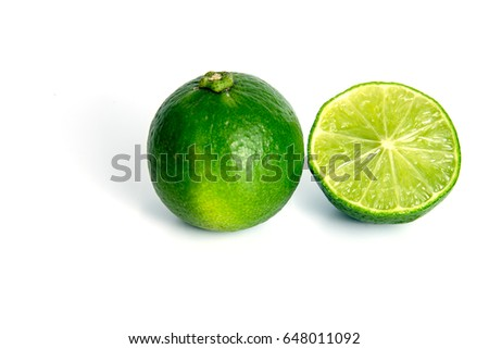 lime with slice lime on white background isolated #648011092
