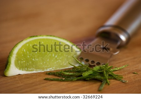 Lime zest and wedge with zester