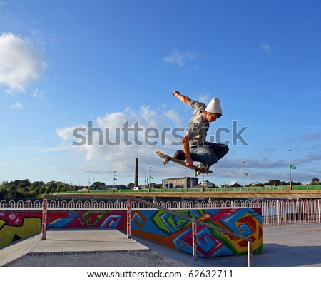 stock photo : LIMERICK CITY, IRELAND-AUGUST 23: Amateur skate boarder Cian ...
