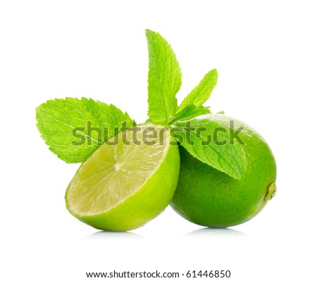 Limes and mint isolated on white background