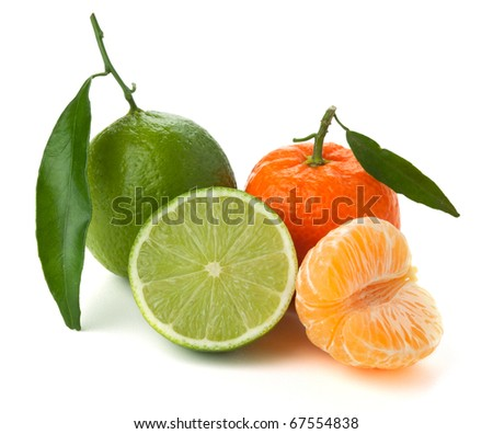 Limes and tangerines. Isolated on white background