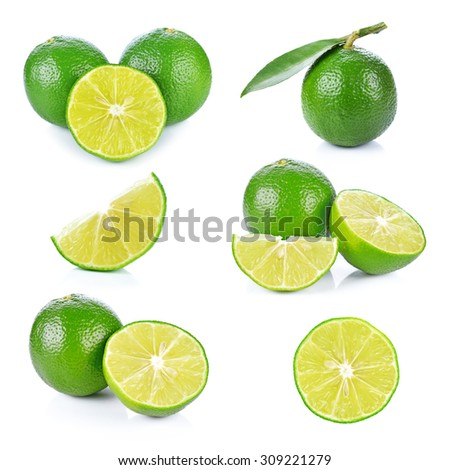Limes with slices  isolated on white background #309221279