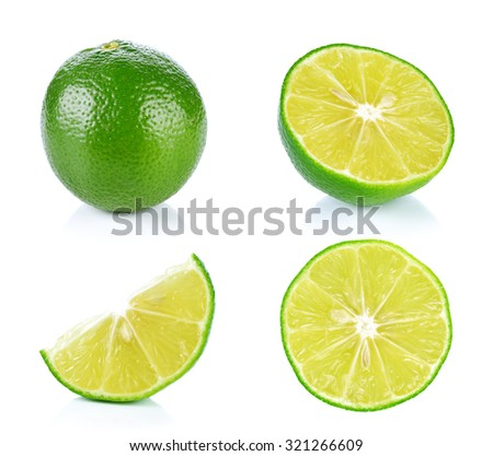 Limes with slices isolated on white background #321266609